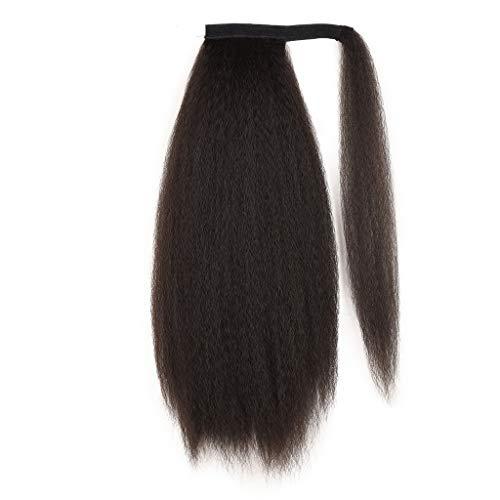 Haarteil Zopf Pferdeschwanz Haarverdichtung Haarverlängerung Blond Clip in Extensions Glatt Ponytail Extension Echthaar und Dunkelste Blondine Remy Flauschig Lockiges Haar Schwarz Perücke (C)