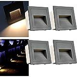 Arotelicht 4er Set 3W LED Wandeinbauleuchte Wandeinbaustrahler Treppenlicht Wandleuchte Stufenlicht aussen Mauer Beleuchtung außen Lampe Alu 230V warmweiß 3000K IP65, Grau, inkl. Dose