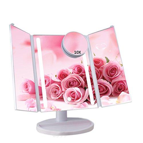 tikspiegel Make-up-Spiegel Schminkspiegel Rasierspiegel Touchscreen mit 16 LED-Beleuchtung faltbar dimmbar 180°Drehbar 1X 2X 3X Vergrößerungsspiegel(Weiß) (Halloween Stand Ins)