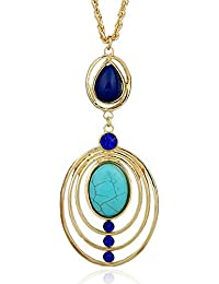 "Young & Forever ""Paradiso Collection"" Amazing Accolades Gold Plated Turquoise Stones Long Chain Necklace For Women..."