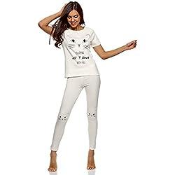 """oodji Ultra Mujer Pijama con Pantalones y Estampado """"Gatito"""", Blanco, ES 38 / S"""
