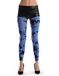 Black & Blue Colour Splash (Tie Dye) Footless - Bleu Opaque Collant Sans Pied (Leggings) Taille Unique (34-42)