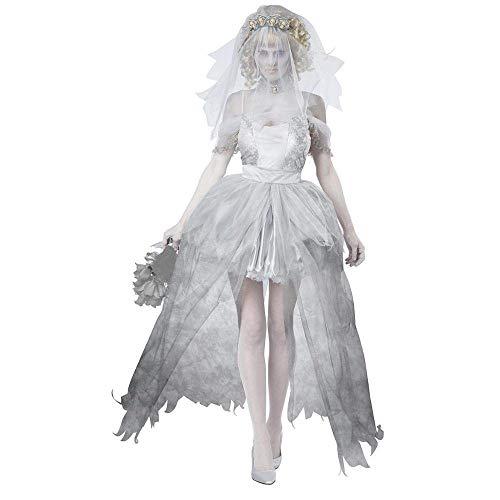 Fashion-Cos1 Geisterbraut Kostüm Halloween Frauen Scary Ghost Bride Cosplay Uniform Fantasia Kostüme Mit Schleier Weiße Farbe (Fantasy Bride Sexy Kostüm)