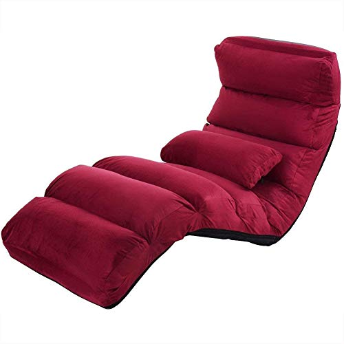 Costway Burgundy Folding Lazy Sofa Chair Stylish Sofa Couch ...