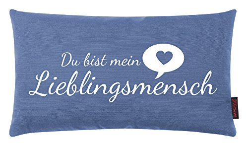 Magma Kissen Lieblingsmensch blau 30x50cm Made in Germany