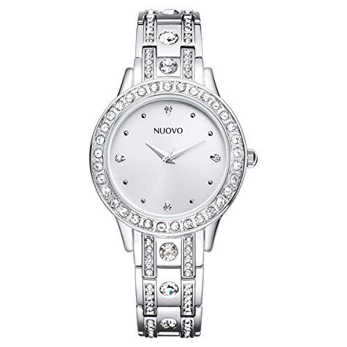 Nuovo Orologio da polso donna diamante con cinturino in acciaio inossidabile argento