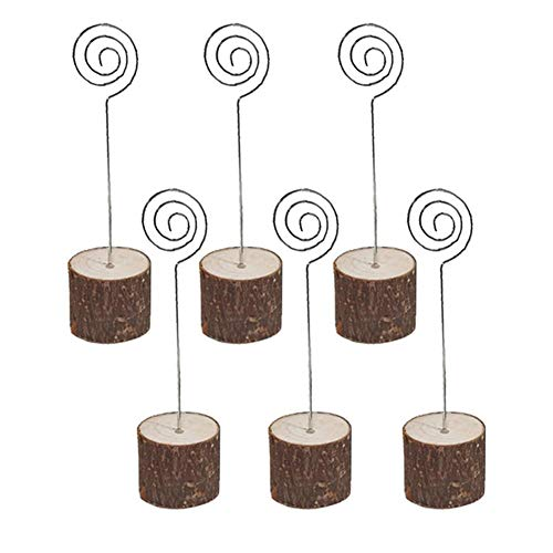 Rustikale Holz-tabellen (GUUTUUG 6 Stücke Rustikale Tabelle Holz Steht Kartenhalter Papier Hinweis Clip für Weihnachtsfeier Hochzeit Home Bar Dekoration)
