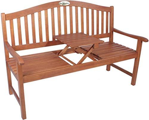 Gartenbank mit Gravur von Ihrem WUNSCHTEXT mit Tisch in der Bank für Gartenliebhaber - Farbe Natur - aus Eukalyptus-Holz