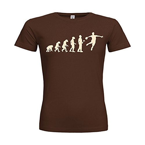MDMA Frauen T-Shirt Classic Evolutionstheorie Handballer N14-mdma-ftc00366-222 Textil brown / Motiv beige / Gr. XXL