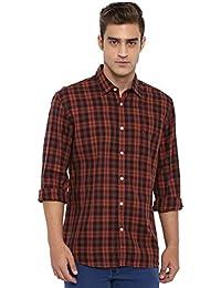 Parx Checkered Cotton Dark Red Slim Fit Cutaway Full Sleeve Shirts