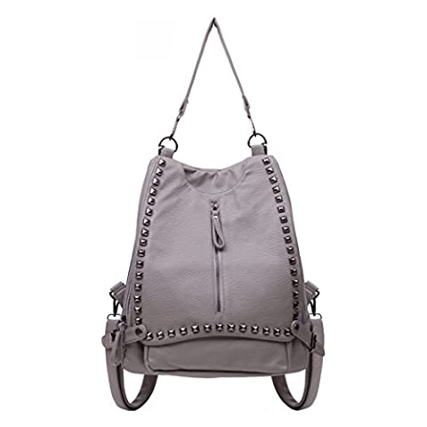 iTECHOR Womens Fashion Rivets PU Leather Backpack Single Shoulder Bag - Silver Grey (Oilily Kindertasche)