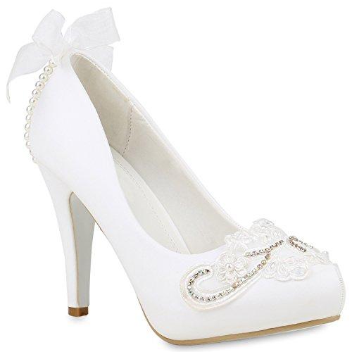 Damen Brautschuhe Stiletto Pumps High Heels Strass Party Schuhe 153609 Weiss Cabanas 39 Flandell