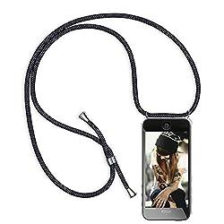 Handykette Hülle für iPhone 6s Plus/iPhone 6 Plus, Necklace Handyhülle mit Band Kordel Umhängen Handyanhänger Halsband Lanyard Durchsichtig Silikon TPU Gel Schutzhülle - Schwarz