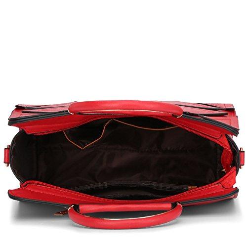 E-Girl S762 Damen 2018 Mode PU Schultertaschen,Umhängetaschen,Henkeltaschen,30x21x13(BxHxT) Rot