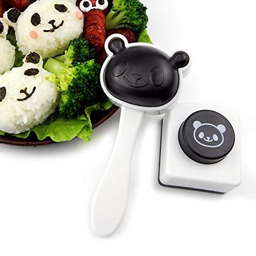 Mold Onigiri Figura del Panda Pallina di Riso Muffa, Bento Accessori, Cartoon Panda Sushi Maker con Maniglie Presa Comoda e Alghe Cutter,Bianca