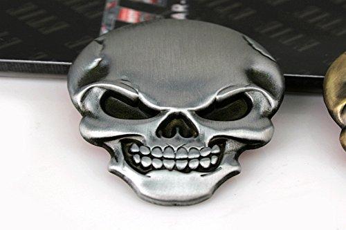 D668 Schädel Tod Emblem Metall in Silber Devil Demon Skull Skelett Maske Badge auto aufkleber car (Maske Skull Tod Der)
