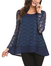 4a0c82527eea Damen Spitzen Bluse Loose Fit Oberteil Lace Elegant Pachtwork Langarmshirt  mit Floraler Spitze