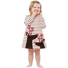 Robe Fille, Internet Enfants Cerf & Père Noël Rayé Manches Longues Robes de Noël