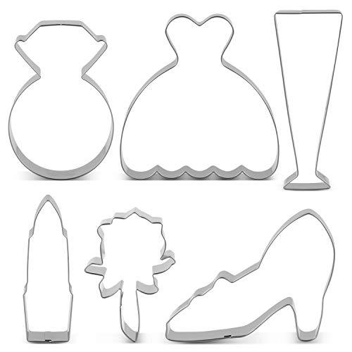 MAIJU Ausstechformen Set für Hochzeit - 6 Stück - Diamant-Ring, Brautkleid, Champagnerglas,...