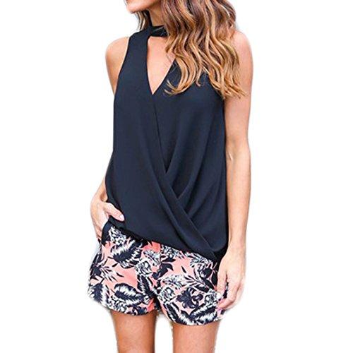 Femme V-Neck Sans Manches licou Épaules Dénudées Couleur Pure Casual Mince Irreguliere Vest Top Tee Shirt Tank Top Débardeurs Noir