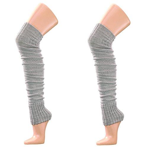 krautwear® Damen Mädchen Beinwärmer Stulpen Legwarmers Overknees gestrickte Strümpfe ca. 70cm Öko-Tex Standard 100 80er Jahre 1980er Jahre schwarz beige rot weiss grau braun (2x grau)
