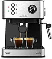 Cecotec Cafetera Espresso Power Espresso - 20 bares, Depósito 1,5 L, 850 W, Brazo Doble Salida, Vaporizador, Superficie...