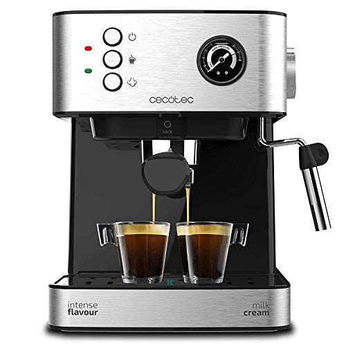 Cecotec Power Espresso Professionale - Cafetera Express para Espresso y Capuccino, 20 Bares, Manómetro Medidor de Presión, mecánica