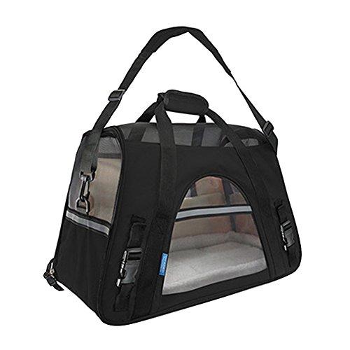 Faltbare Transportbox für Haustiere, Travel Weiche Seiten Tasche Haustier Träger für Hunde & Katzen Schwarz Large