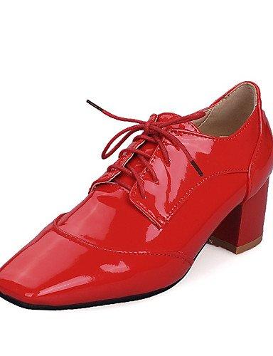 WSS 2016 Chaussures Femme-Bureau & Travail / Décontracté / Habillé-Noir / Rouge / Blanc-Gros Talon-Talons / Escarpin Basique / Bout Carré-Talons- red-us7.5 / eu38 / uk5.5 / cn38