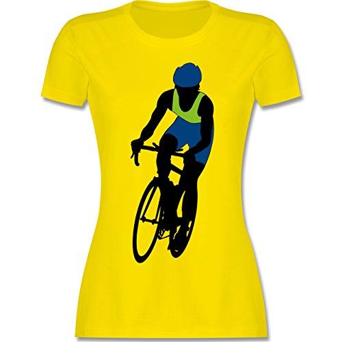Radsport - Profi Rennrad Radrennen - tailliertes Premium T-Shirt mit Rundhalsausschnitt für Damen Lemon Gelb