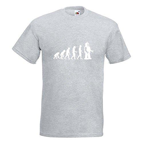 KIWISTAR - Evolution Roboter T-Shirt in 15 verschiedenen Farben - Herren Funshirt bedruckt Design Sprüche Spruch Motive Oberteil Baumwolle Print Größe S M L XL XXL Graumeliert