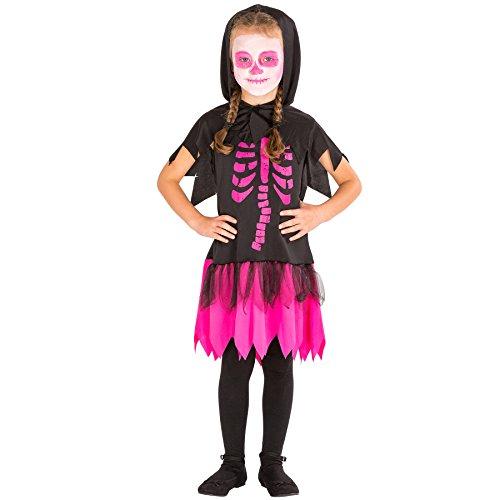 Süßes Skelett Kinder Kostüm - TecTake dressforfun Süßes Kinder Girlie Skelett Kostüm Kleid mit Kapuze (10-12 Jahre   Nr. 300011)
