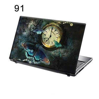 156-autocollants-pour-ordinateur-portable-papillons-et-de-lhorloge