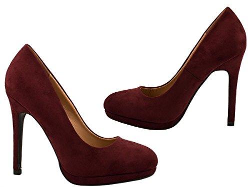 Elara Damen Pumps | Moderne Abendschuh Stilettos | Plateau High Heels Bordorot