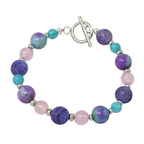 Eternal Collection Provence lila und türkis Achat Perlen Silber Ton Armband Purple 20 Provence Collection