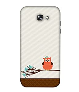 PrintVisa Designer Back Case Cover for Samsung Galaxy A5 (2017) (Owl Image Animation Birds Twigs Trees)