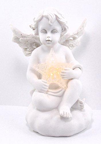 Christshop Schutzengel – antik Weiss – mit Kristallstern Beleuchtet (LED)