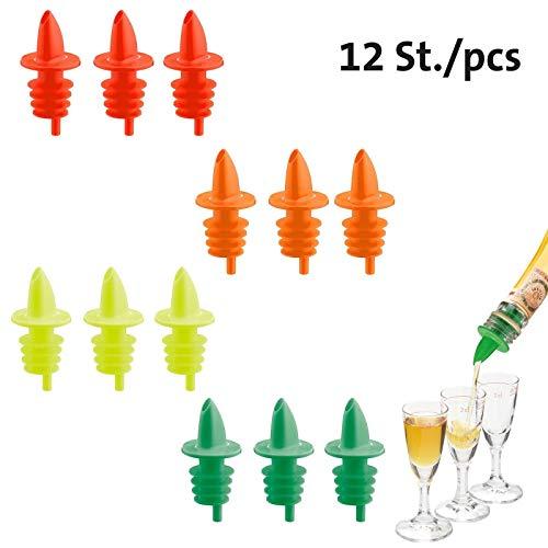 Westmark 12 Spirituosen-Ausgießer für Flaschen, Mit Luftröhrchen, Fluoreszierend, Kunststoffkorken, Jet-Pour, Neonfarbig, 41102080