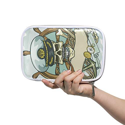 Montoj Federmäppchen mit großer Kapazität, Cool Pirat Make-up-Pinsel Organizer Tasche aus Leder