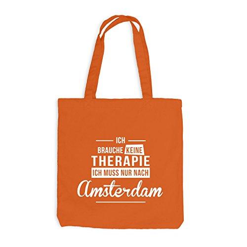 Jutebeutel - Ich Brauche Keine Therapie Amsterdam - Therapy Urlaub Holland Orange