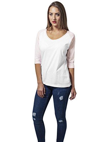 Urban Classics Damen T-Shirt Weiß (wht/pink 234)