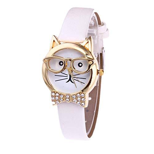 Patifia Uhren Mädchen Teenager, Frauen Nette Brille Katze Analog Quarz Zifferblatt Beiläufig Leder Band Armbanduhr Mädchen Die Uhrzeit Lernen Handgelenk Uhren