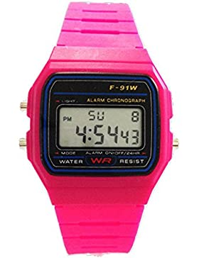 Kinder S (Klein) 3,2cm Dunkelrosa Unisex-Armbanduhr Digital Damenuhr/Herrenuhr Retro Design Klassisch Uhr - Verfügt...