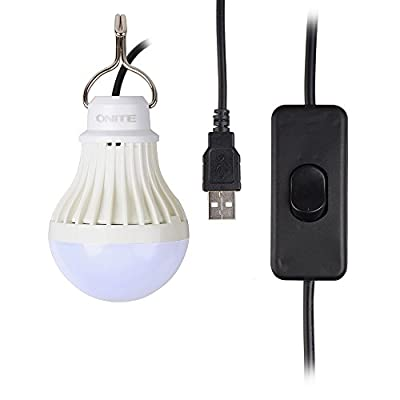Onite® USB LED Light for Camping, Children Bed Lamp, Portable USB LED Bulb, Emergency Light, Cord Comes with Switch