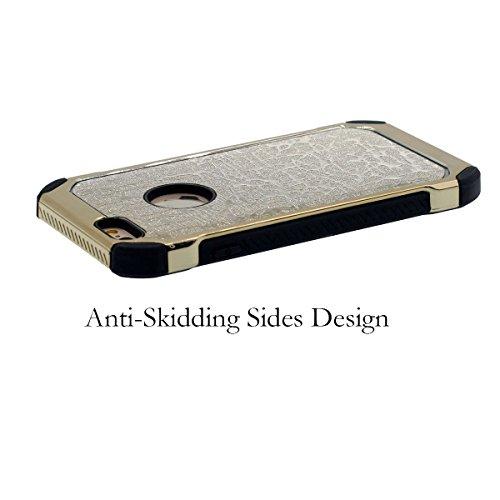 """iPhone 6S Plus Case Mode Schwer Hardcase Hülle Anti-Shock Cover Original 'Hübsch Funkeln Textur Zurück Entwurf' Licht Handy Tasche für Apple iPhone 6 Plus 5.5"""" - Silber Gold"""