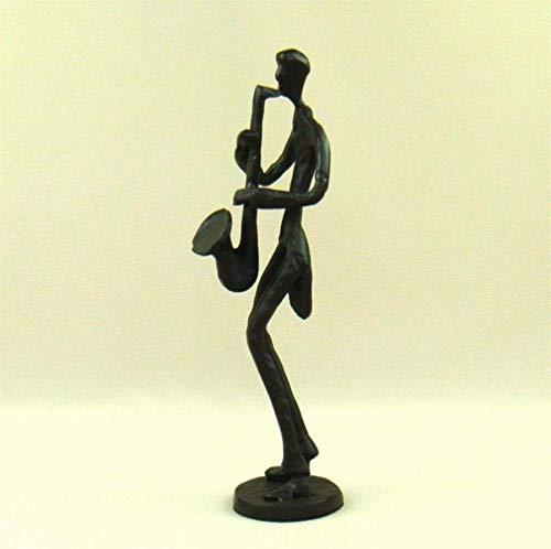 ERH Ornamente Statuen Dekorationen Figur Skulptur Mode Metall Saxophon Spieler Figur Abstraktiv Gusseisen Saxist Statue Musik Dekoration Geschenk und Handwerk Nippes Ornament, Schokolade, M,Schokolad