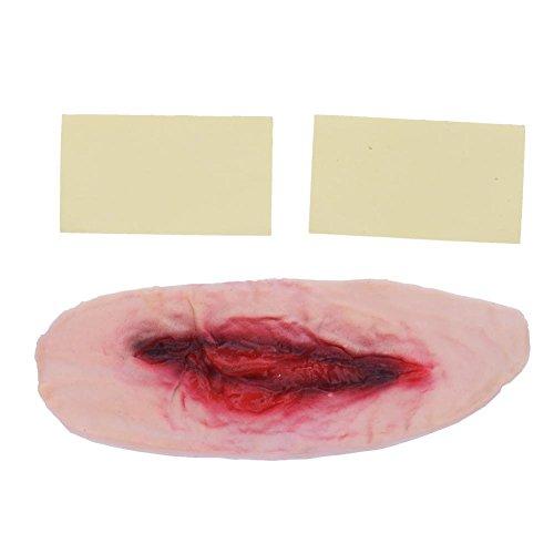 Keng Halloween Zombie cicatriz tatuajes falsas cicatrices Garganta sangrienta Maquillaje Decoración de Halloween Horror Herida Miedo Sangre Herida pegatina