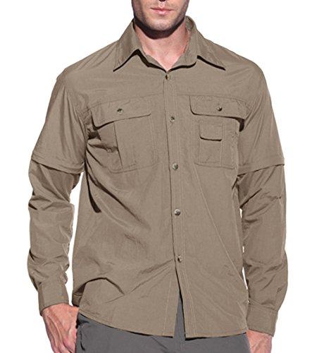 Militär-khaki-hemden (KEFITEVD Jagdhemd Herren Langarm Tropenhemd Feuchtigkeitsregulierend Militär Hemd Camping Angeln Taktisch Hemd Wanderhemd Khaki S (Etikett: S))