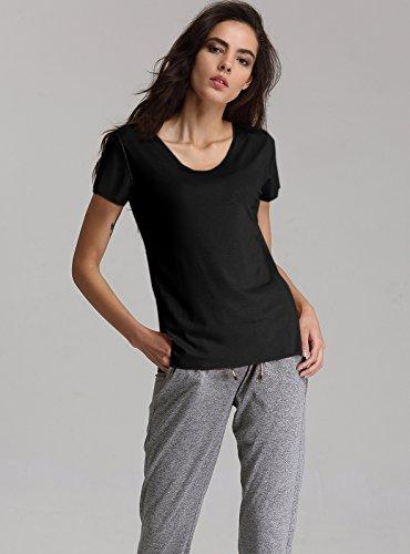Escalier Femmes T-shirt Basique en Coton Col rond Manche Courte Tops Noir