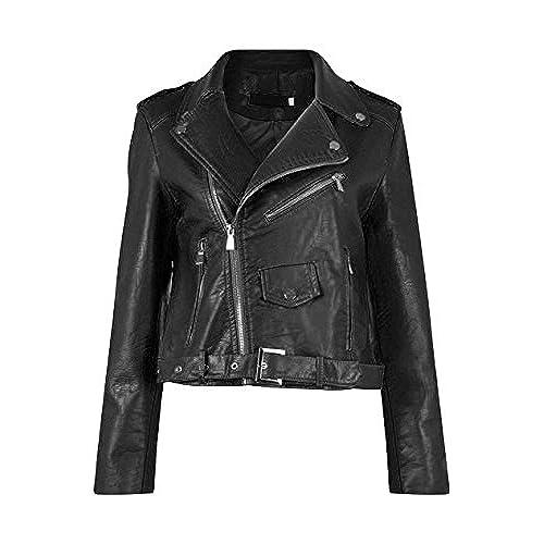 Diana Femmes Nouvelles Faux Cuir Or ou Metal Button Zip Crop Ladies Biker  Veste Manteau